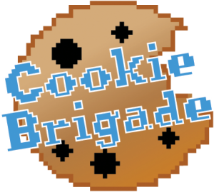 Cookie Brigade logo of a pixel style chocolate chip cookie with the name super imposed in blue