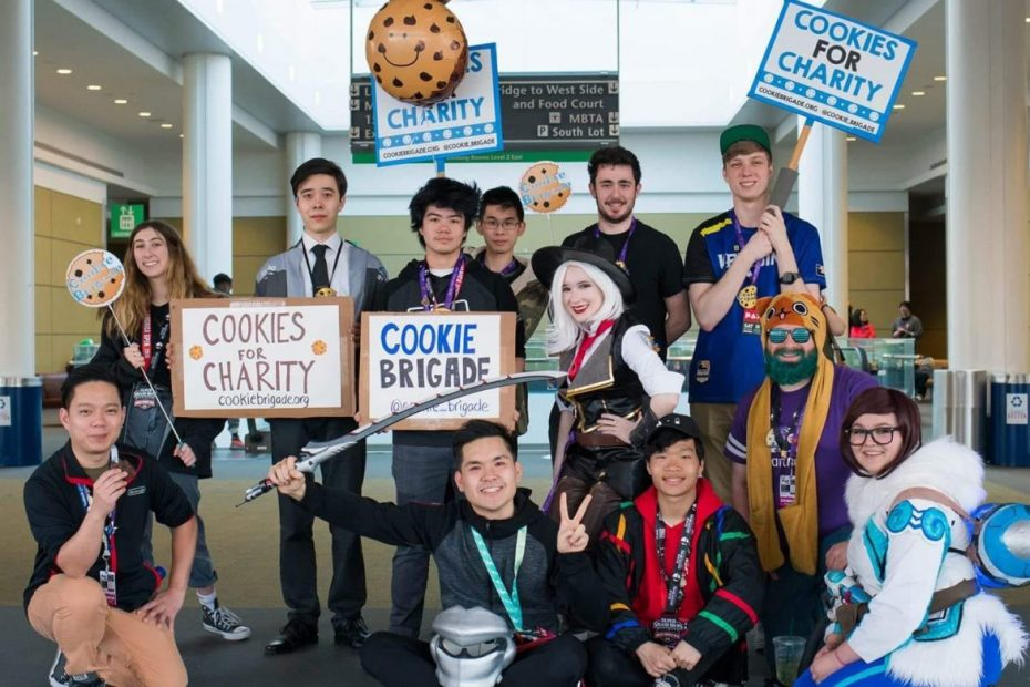 Cookie Brigade volunteers posing at PAX East 2019