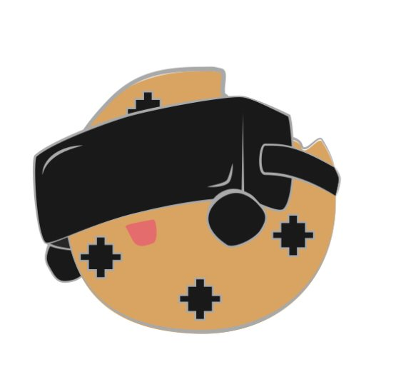 Chippy, the cookie brigade mascot wearing a VR headset and holding it up because its too big and he has no ears.