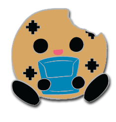 Cookie Brigade Chippy sitting down and holding a handheld gaming system for the Brigades first Pinny Arcade design.