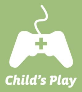 Child's Play logo with a controller that has a cross cut out