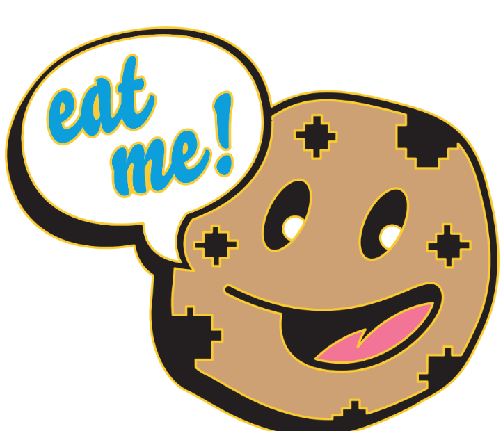 Eat me, old timey cartoon style Chippy cookie brigade mascot inviting you to eat him, design for PAX West 2019 Pinny Arcade pin