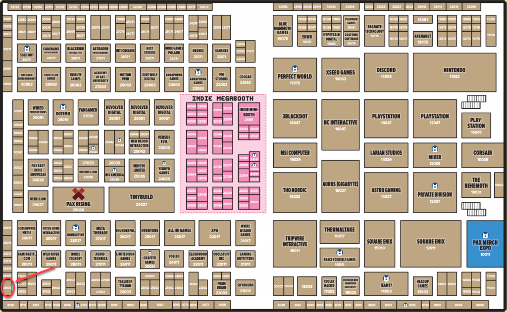 PAX East 2020 Expo Floor map, Cookie Brigade will be at booth #31003 in the bottom left hand corner of the expo flooer on level 0